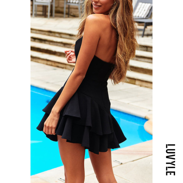 Black Off-The-Shoulder Halter Ruffled Sexy Mini Dress(Video) Black Off-The-Shoulder Halter Ruffled Sexy Mini Dress(Video)