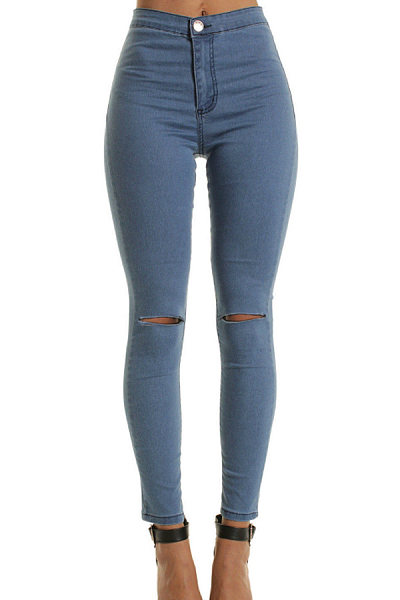 Long Sheath Cotton Plain Jeans