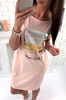 Round Neck  Letters Printed  Short Sleeve Casual Dresses