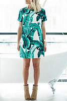 Leaf Printed  Short Sleeve Casual Dresses