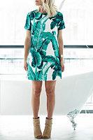Leaf Printed  Short Sleeve Casual Dresses