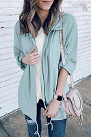 Fold-Over Collar Plain Trench Coat