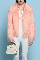 Faux Fur Collar  Plain Outerwear