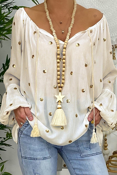 Loose lantern sleeve hollow V-neck top