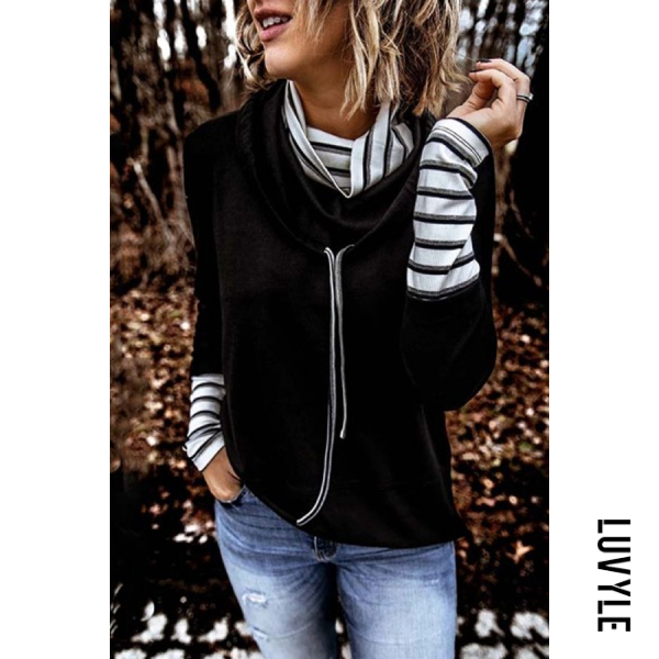 Women's Casual Turtleneck Striped Long-Sleeve T-Shirt