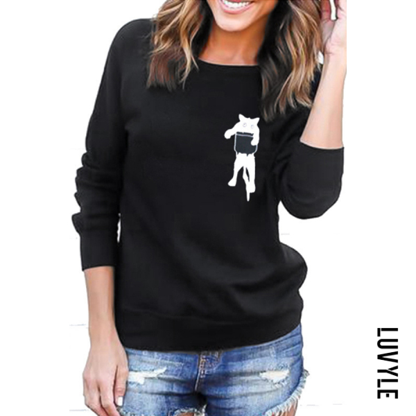 Round Neck Long Sleeve Cat Sweatshirt