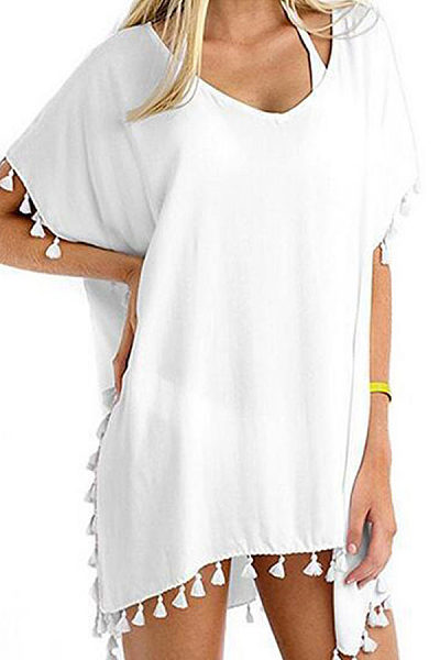 V Neck  Asymmetric Hem Fringe  Plain Cover Ups