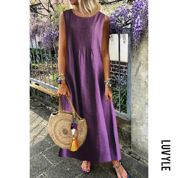 Women's Round Neck Sleeveless Solid Color Vest Dress