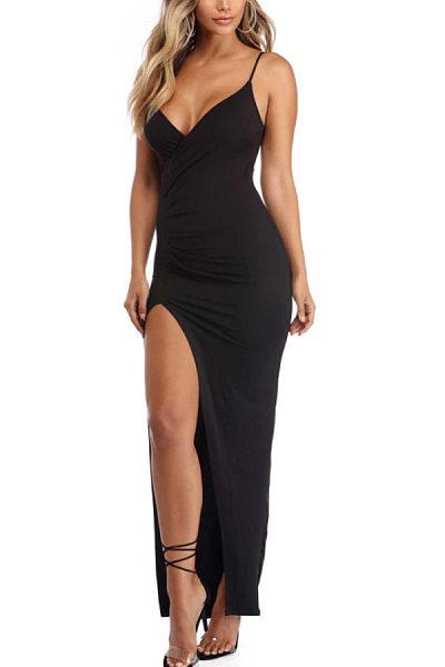 Spaghetti Strap  Backless High Slit  Plain Maxi Dresses