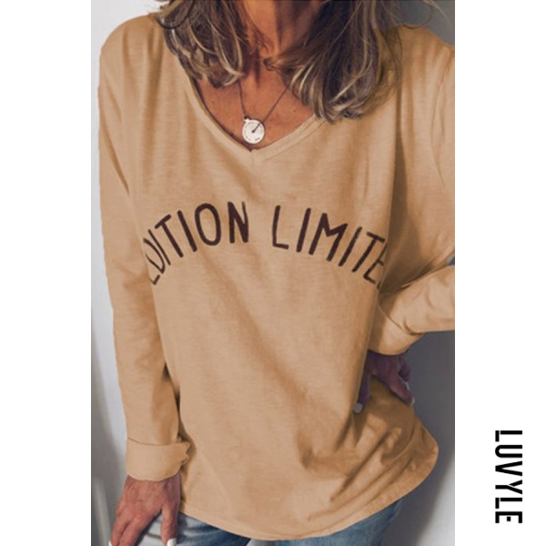 Yellow Casual V Neck Long Sleeve Letters T-Shirt Yellow Casual V Neck Long Sleeve Letters T-Shirt