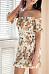 Off Shoulder  Printed  Short Sleeve Bodycon Dresses