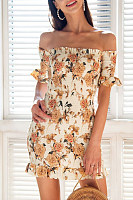 Off Shoulder  Printed  Short Sleeve Bodycon Dresses