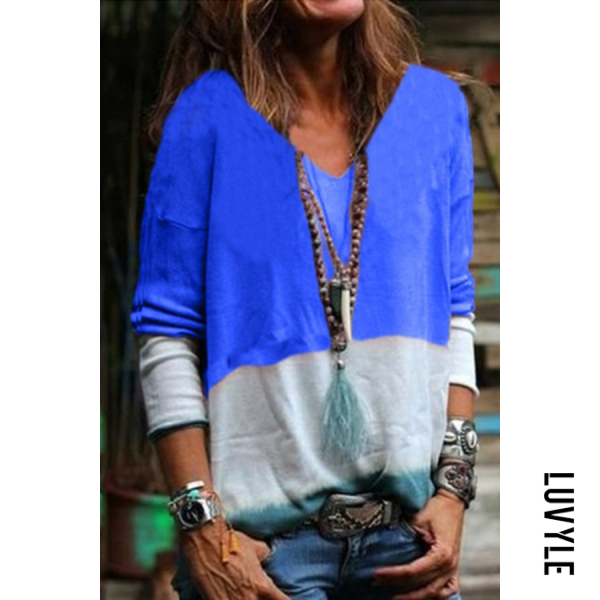 Blue V Neck Long Sleeve Colouring T-Shirts Blue V Neck Long Sleeve Colouring T-Shirts