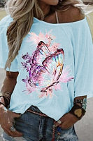 Butterfly Printed Round Neck T-shirt