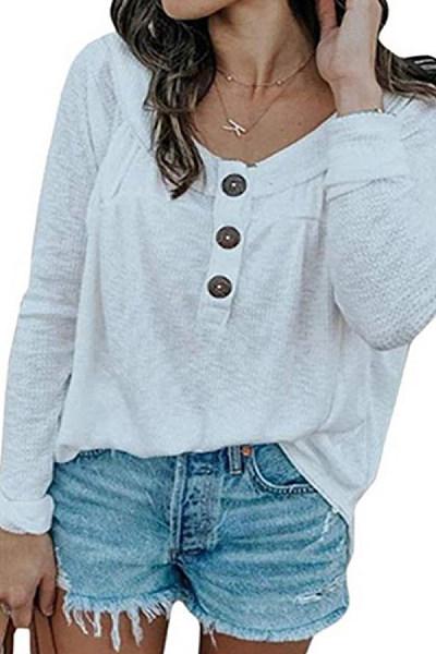 Women's Round Neck Button Sweater