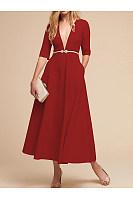 Topshop leather Round Neck Patchwork Slit Plain Short Sleeve Maxi Dresses websites cheap define