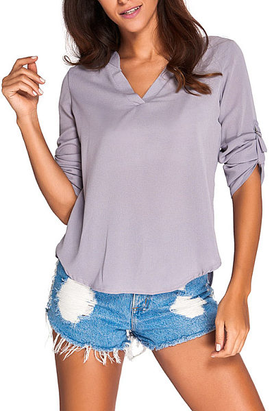 Chiffon V Neck Raglan Sleeve Shirt