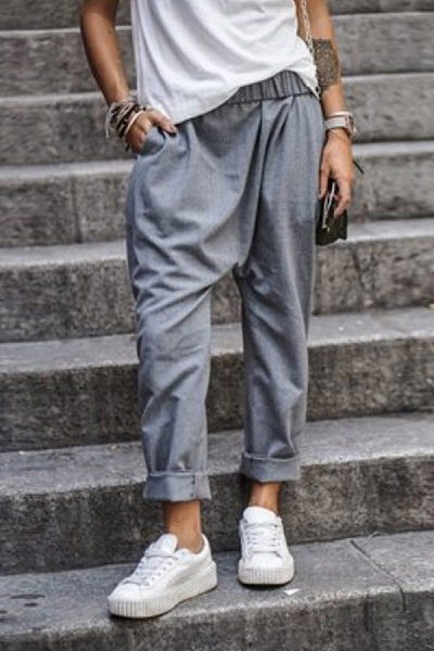 Fashion Solid Color Pockets Beam Feet Harem Pants