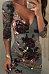 Deep V Neck  Asymmetric Hem Backless  Floral Printed  Three Quarter Sleeve Bodycon Dresses