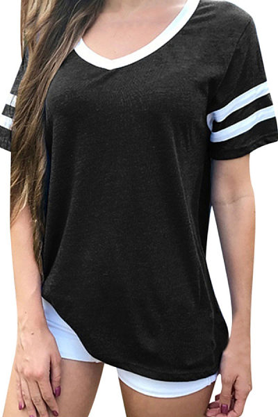V Neck  Patchwork Plain T-Shirts