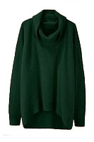 Cowl Neck  Asymmetric Hem  Plain Sweaters