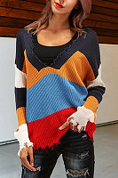 V Neck  Loose Fitting  Stripes Sweaters