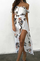 Off Shoulder  High Slit  Floral Printed  Short Sleeve Maxi Dresses