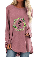 Round neck l grass print loose long sleeve T-shirt