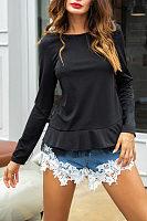 Round Neck  Flounce  Lace Plain T-Shirts