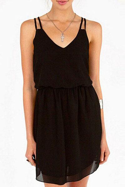 Spaghetti Strap  Elastic Waist  Plain  Sleeveless Casual Dresses