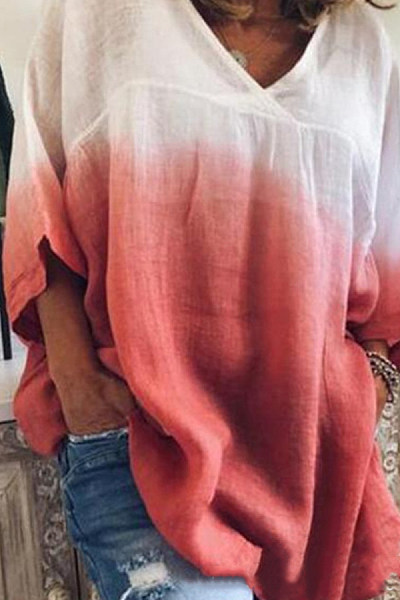 V Neck  Gradient Loose-Fitting T-Shirts