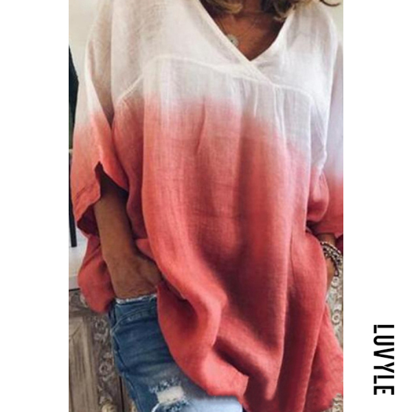 Red V Neck Gradient Loose-Fitting T-Shirts Red V Neck Gradient Loose-Fitting T-Shirts