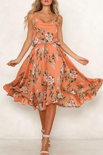 Spaghetti Strap  Asymmetric Hem  Floral Printed  Sleeveless Maxi Dresses
