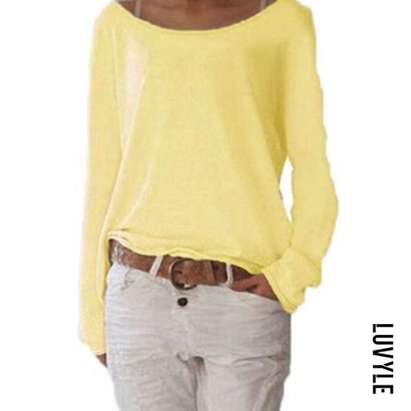 Yellow Loose Round Neck Long Sleeve Plain T-Shirts Yellow Loose Round Neck Long Sleeve Plain T-Shirts