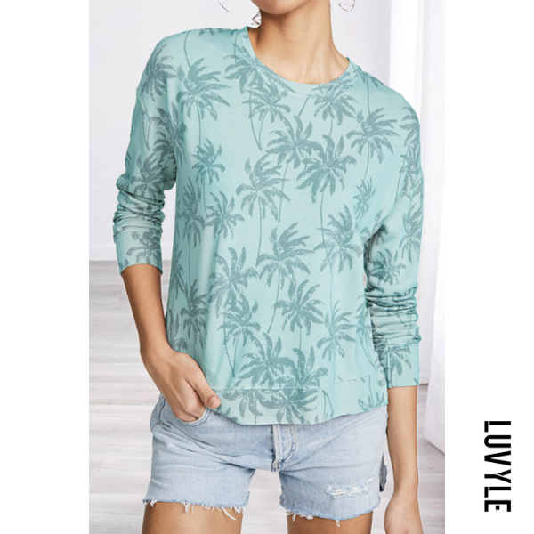 Green Casual Round Neck Long Sleeve Printed T-Shirt Green Casual Round Neck Long Sleeve Printed T-Shirt