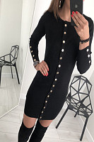Crew Neck  Single Breasted  Plain  Long Sleeve Bodycon Dresses
