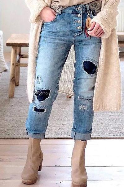 Casual Pure Colour Broken Hole Jeans