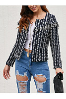 Band Collar  Striped Jackets