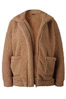 Fold Over Collar  Zipper  Plain  Teddy  Outerwear