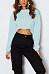 Round Neck  Exposed Navel  Plain  Batwing Sleeve Sweatshirts