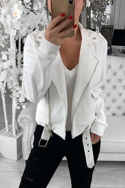 Fold Over Collar Plain Basic Jackets