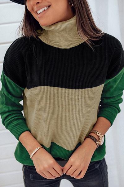High Collar Knit Casual Sweater