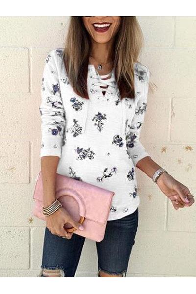 V Neck Floral Printed Long Sleeve T-Shirts