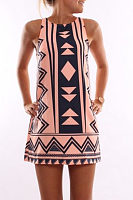 Round Neck  Geometric Printed Casual Dresses