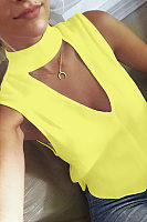 High Neck  Cutout  Plain Vests