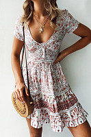 Deep V Neck  Printed  Short Sleeve Skater Dresses