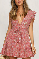 Deep V Neck  Dot  Short Sleeve Skater Dresses