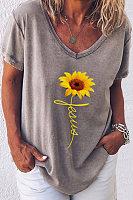 V Neck Short Sleeve Floral Christian T-shirt