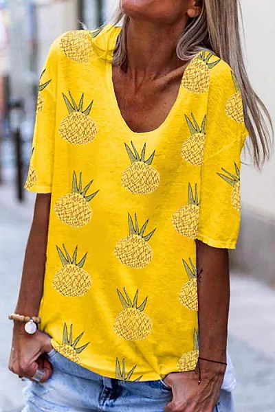Casual Pineapple Print Crew Neck Short Sleeve T-Shirt