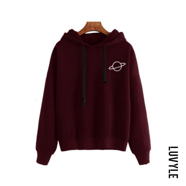 Claret Casual Long Sleeve Cartoon Hoodies Claret Casual Long Sleeve Cartoon Hoodies